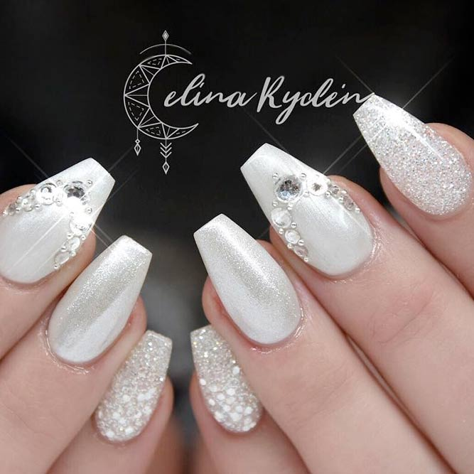 Ballerina Nails with Rhinestones picture 2