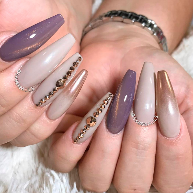 Gorgeous Designs for Long Coffin Nailspicture 2