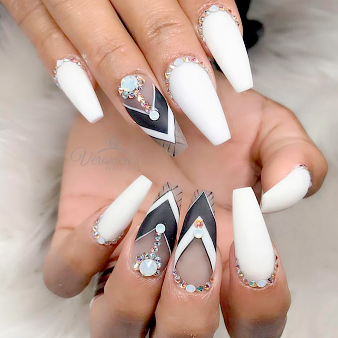 White, Silver and Black Ideas for Your Coffin Nails picture 2 - Cool Сoffin Nails Design NailDesignsJournal.com
