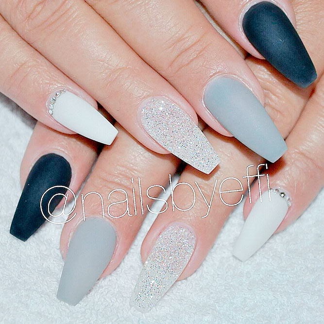 White, Silver and Black Ideas for Your Coffin Nails picture 3