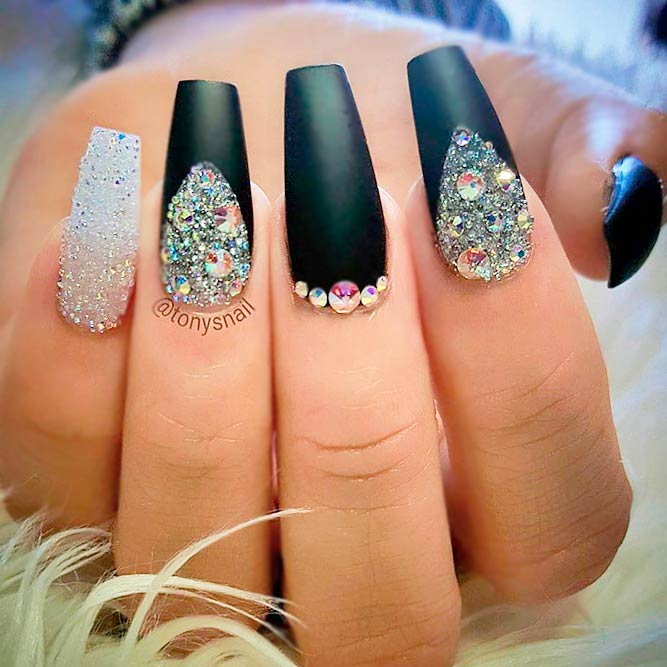 White, Silver and Black Ideas for Your Coffin Nails picture 1