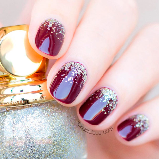 Glitter Ombre Red Nails picture 1
