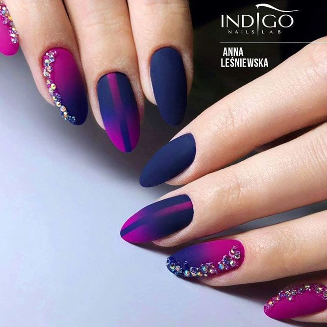 Knockout Ideas For Your Dark Ombre Nails