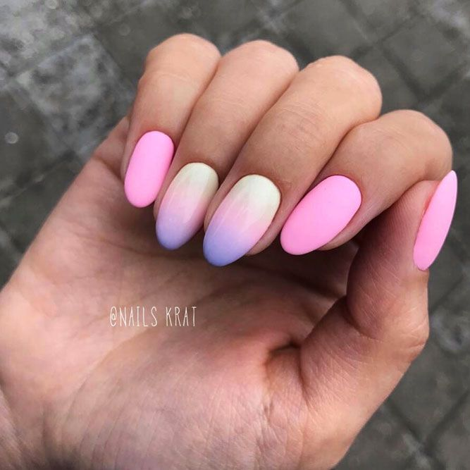 Matte Ombre Nails With Pastel Rainbow