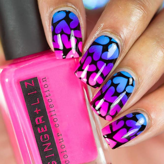 Pretty Ombre Nails With Stamping Design #ombrenails #neonombre #nailsart