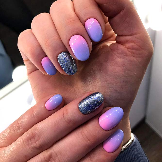 Ombre Nails with Pastel Rainbow #nailsdesign #pastelnails #ombrenails