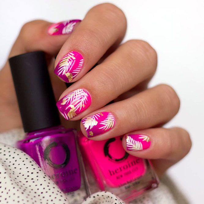 Pretty Summer Ombre Nails With Stamping Design