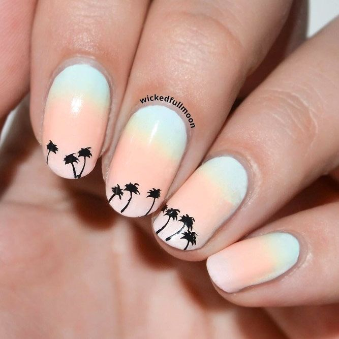 Summer Ombre Nails With Stamping Design