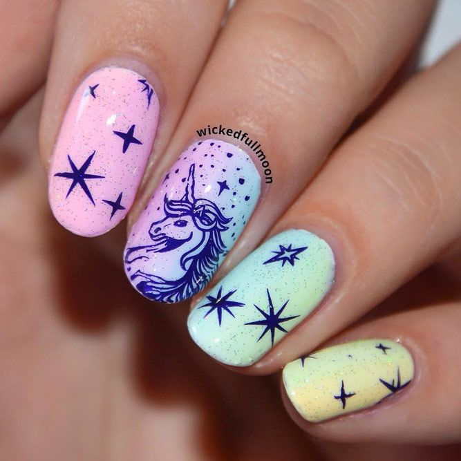 Pretty Ombre Nails With Stamping Design
