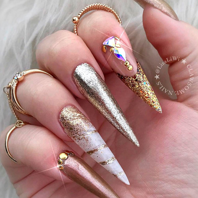 Stiletto Nails with Gold Accents picture 2