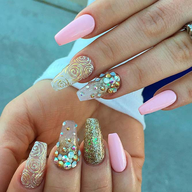 Rhinestone Nail Designs Best Choices picture 2 - Brilliant Long Nail Designs To Try NailDesignsJournal.com