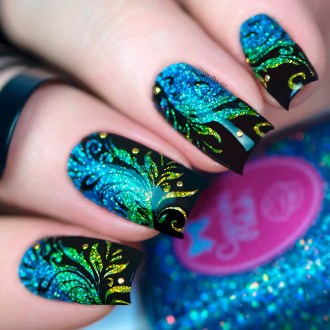 Long Square Nail Designs with Glitter picture 3