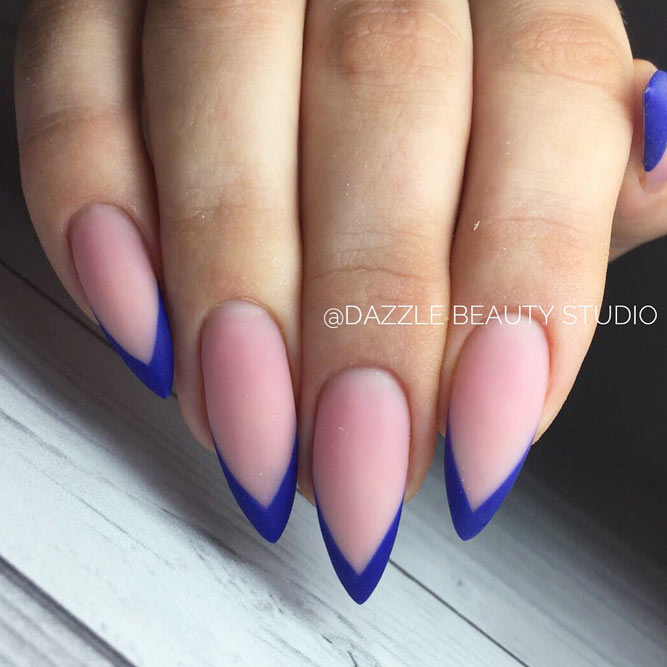 Electric Blue French Manicure For Chic Look #stilettonails #frenchnails #frenchtips #frenchmanicure