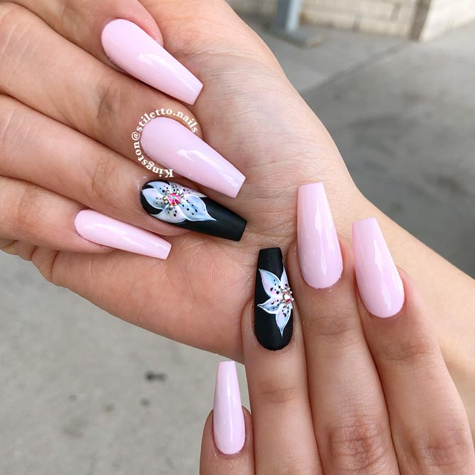 Long Pink Nails Dressed Up With Lily Flowers #coffinnails #pinknails #flowernails