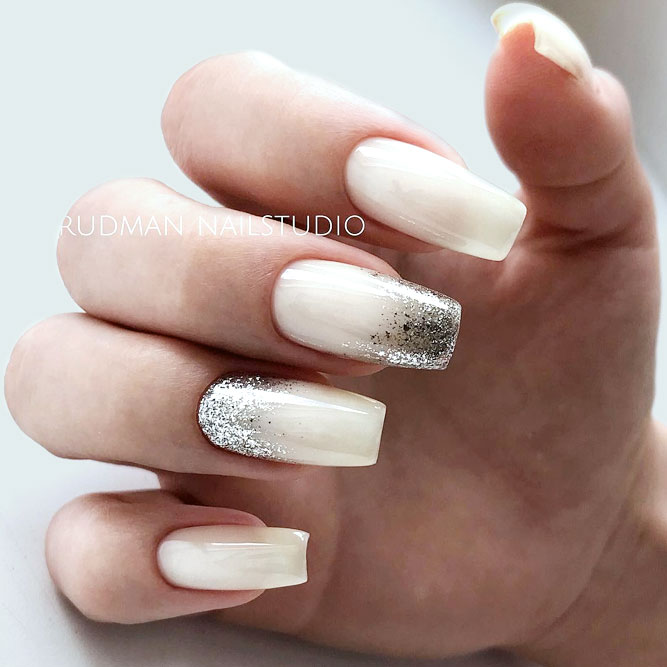 Glitter Ombre Accent For A Classy Nude Manicure #nudenails #glitternails #ombrenails #squarenails