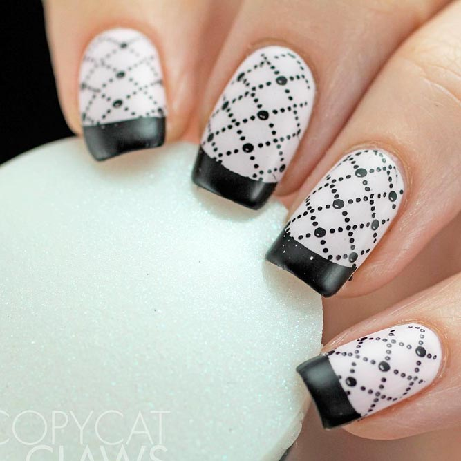 Trendy Black and White French Mani picture 1