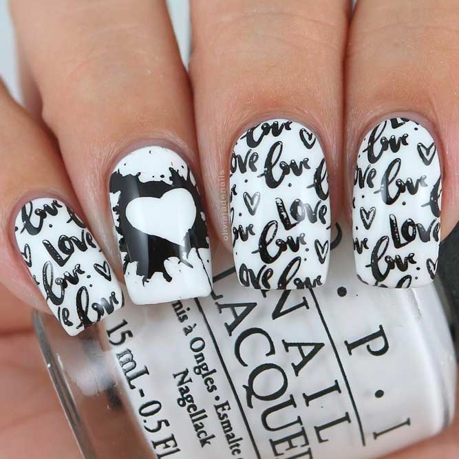 White Nails Designs with Black Accents picture 2