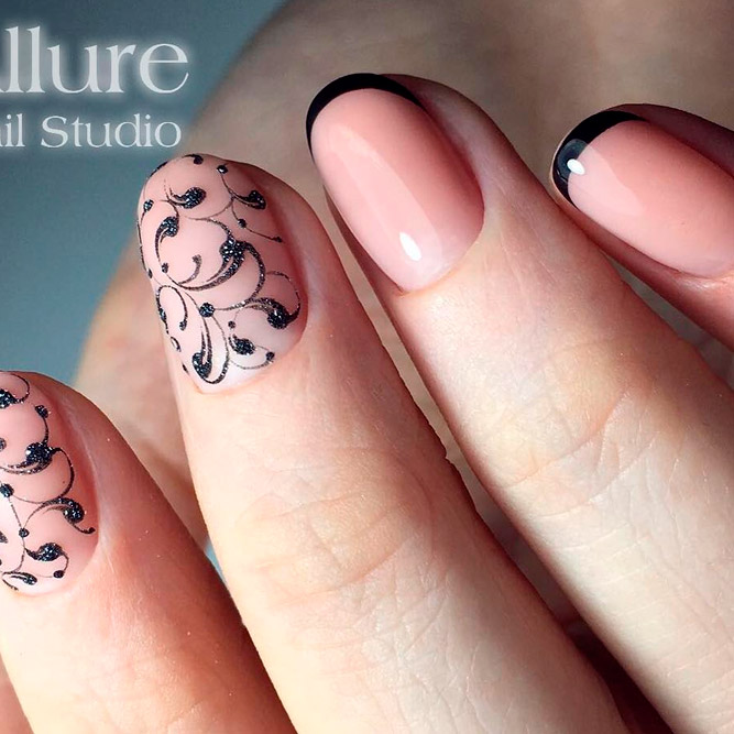 Hand Painted Nail Designs for Black French picture 1