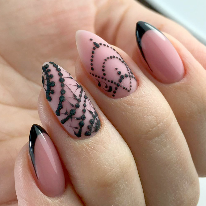 Hand Painted Nail Designs for Black French picture 2