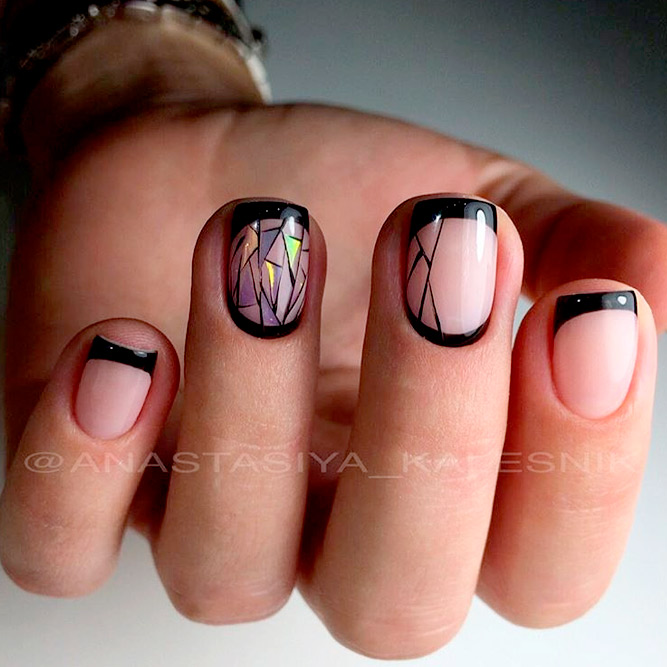 Black French for Short Nails picture 1
