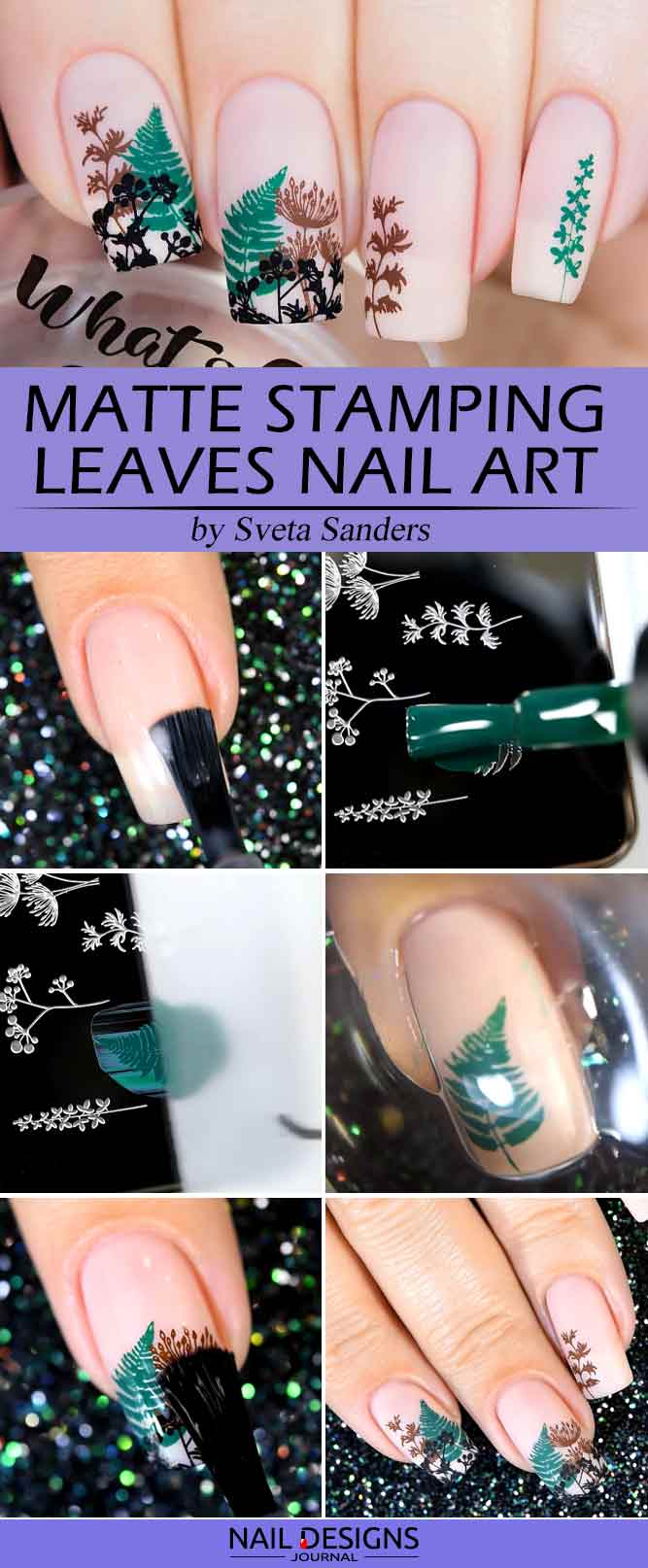 Matte Stamping Leaves Nail Art