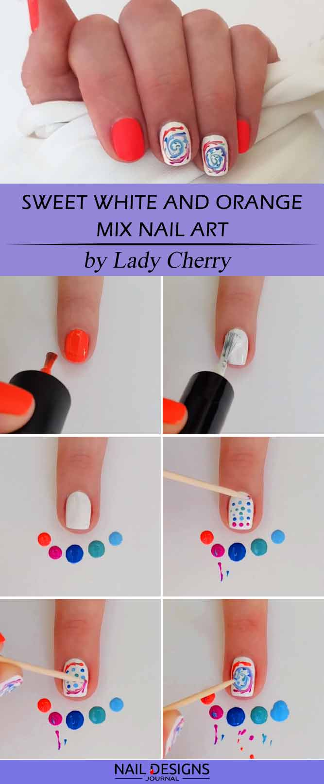 Sweet White and Orange Mix Nail Art