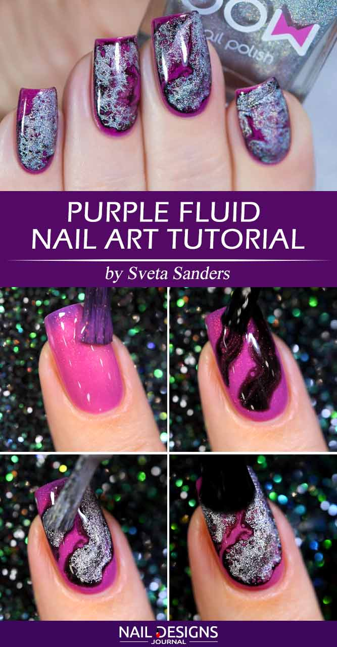 Purple Fluid Art Nail Art Tutorial