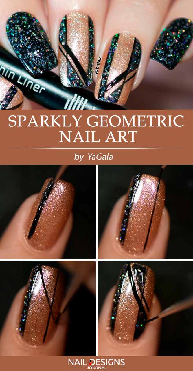 Sparkly Geometric Nail Art #glitternails #simplenaildesigns