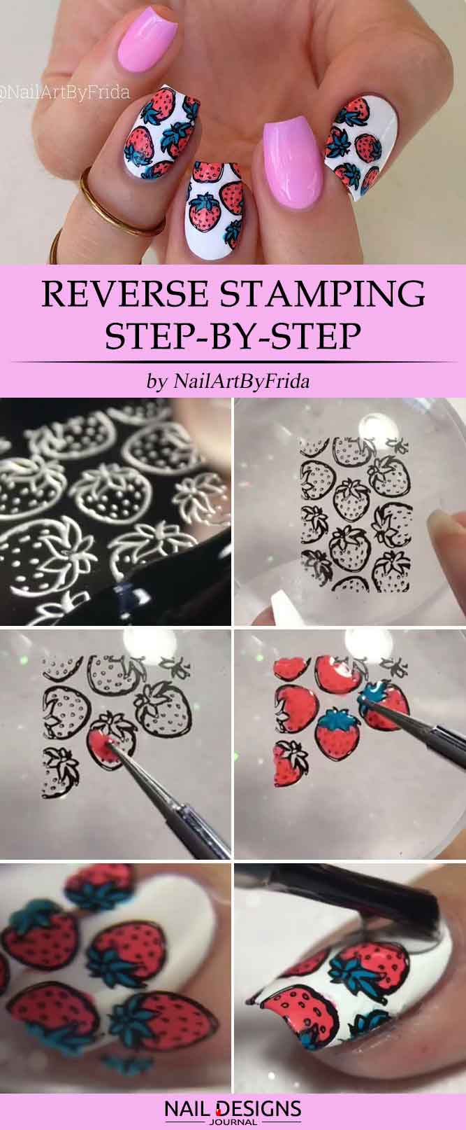 Cute Strawberry Reverse Stamping Step by Step