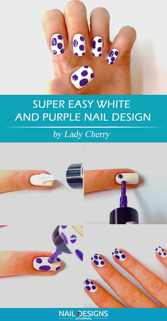 Super Easy White and Purple Nail Design