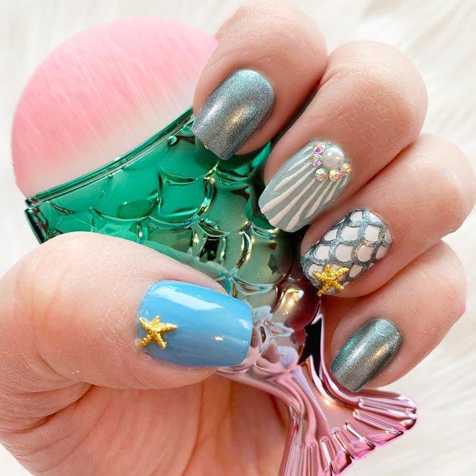 Beautiful Rhinestone Mermaid Nail Art Designs