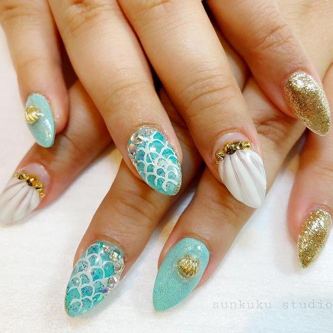 Gold Glitter Mermaid Nails Art Ideas