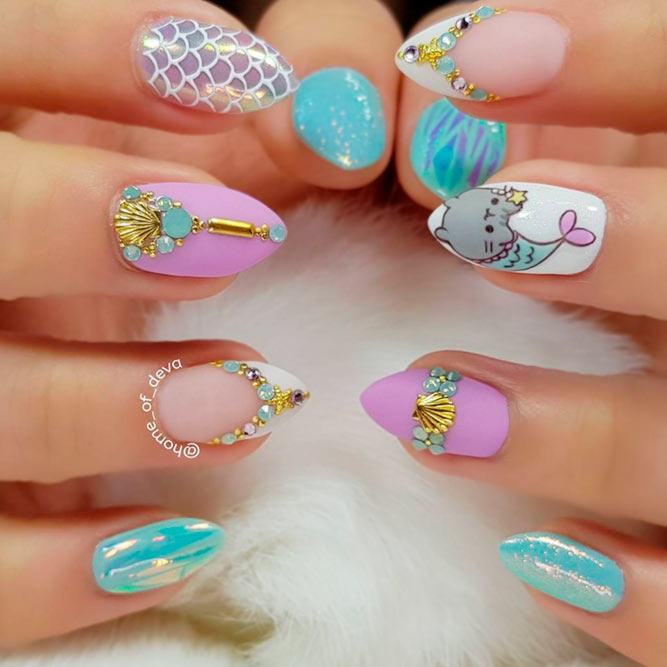 Little Mermaid Themes For Your Nail Designs #mattenails #rhinestonesnails