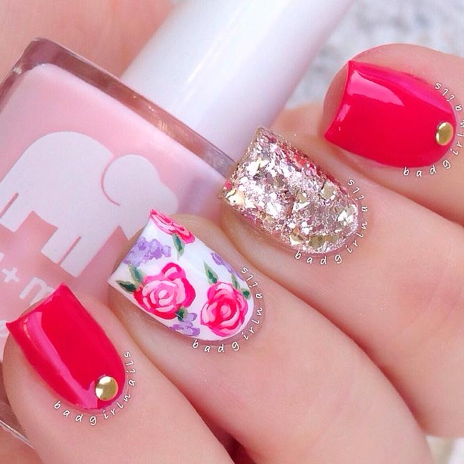Pretty Rose Designs for Square Nails picture 1