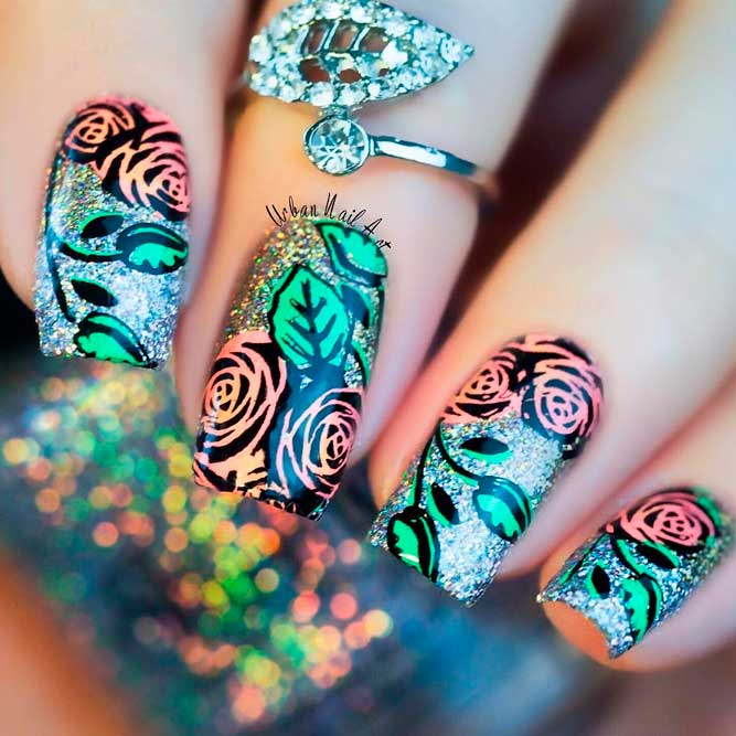 Pretty Rose Designs for Square Nails picture 2