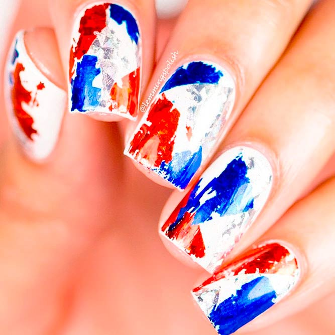 4th of July Nails Designs in Red White and Blue picture 3