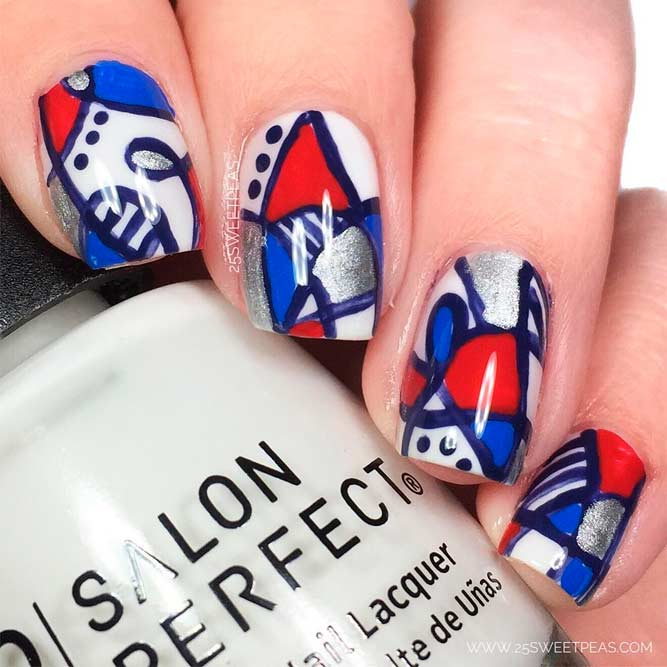Unusual Abstract Art For Fourth Of July Nails