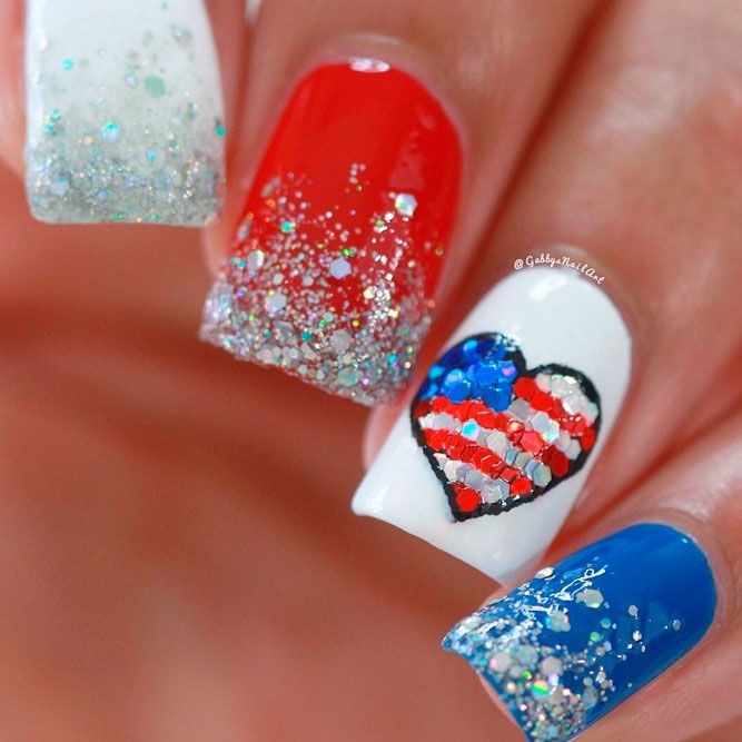 Beautiful Patriotic Nails With Heart Accent