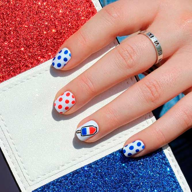 Unusual Art For Fourth Of July Nails With Ice Cream