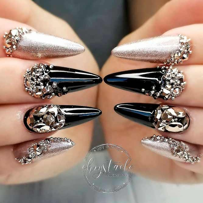 Nude And Black Nails With Gold Rhinestones #rhinestonesnails #longnails