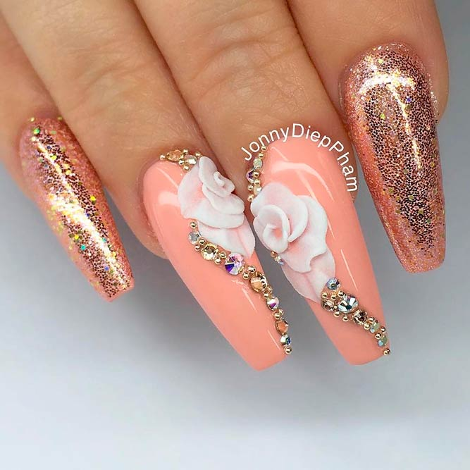 Gold Coffins With Rhinestones And 3-D Flowers #glitternails #flowersnails #rhinestonesnails