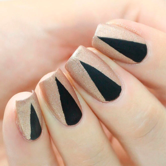 Gold Nails With Matte Black Triangulars #mattenails #geometricnails