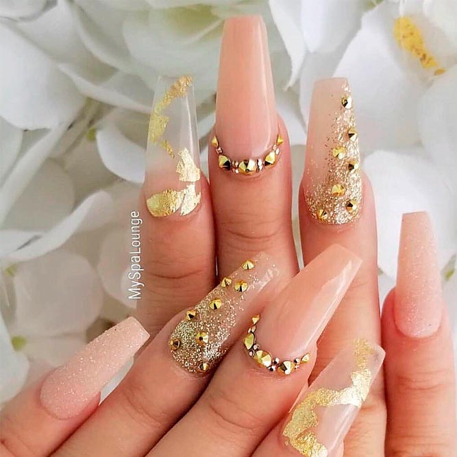 Long Nude Nails With Gold Rhinestones And Foil #foilnails #rhinestonesnails #nudenails