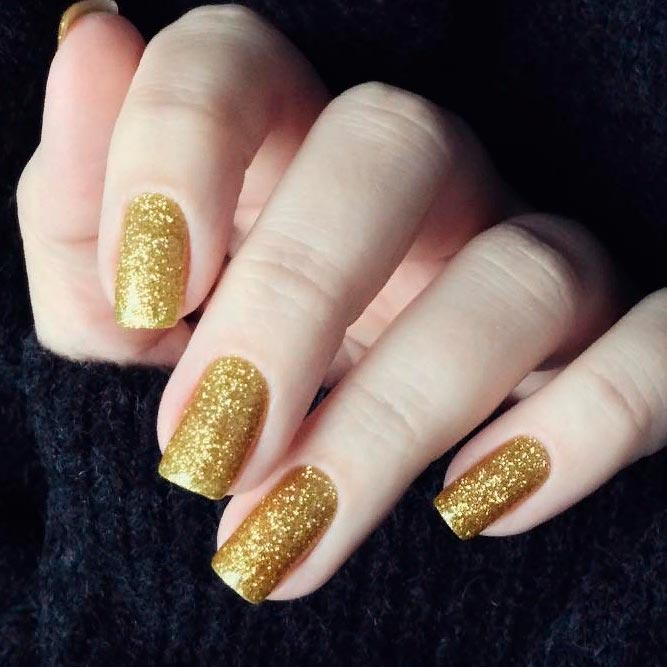 Gold Glitter Square Nails #shortnails #glitternails