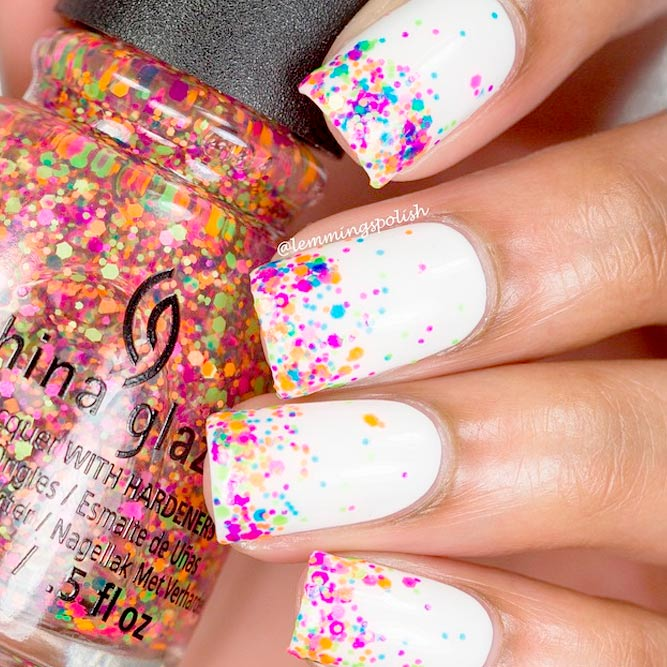 White Nail Polish with Bright Pops of Color picture 1