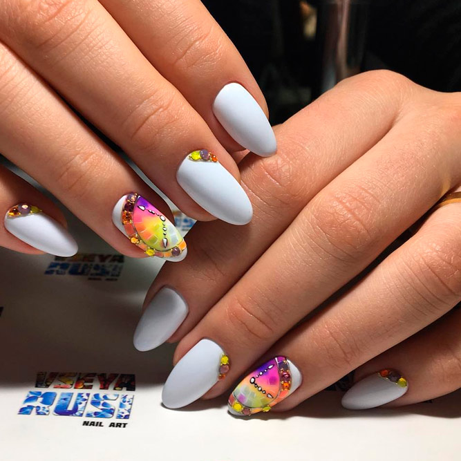 White Nail Polish with Bright Pops of Color picture 2