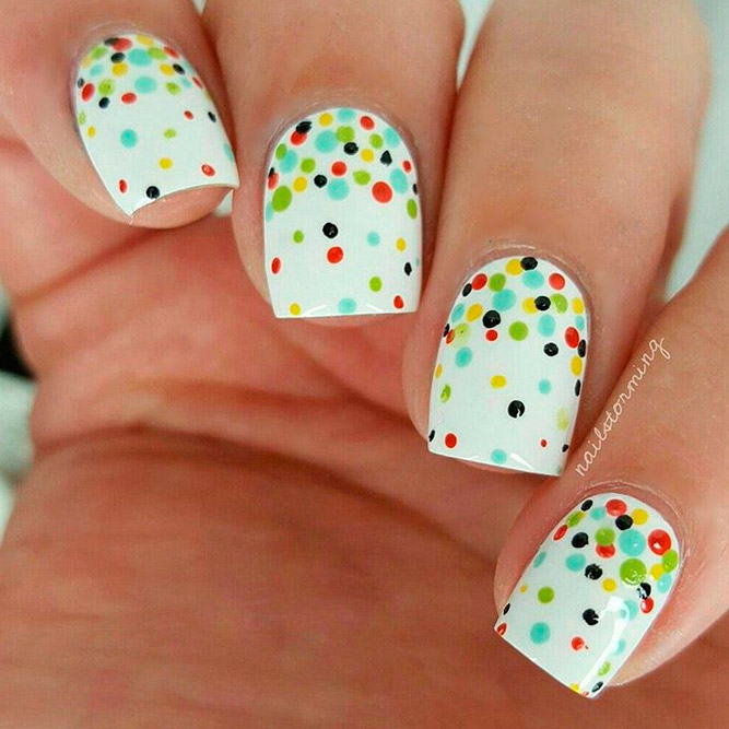 White Nail Polish with Bright Pops of Color picture 3