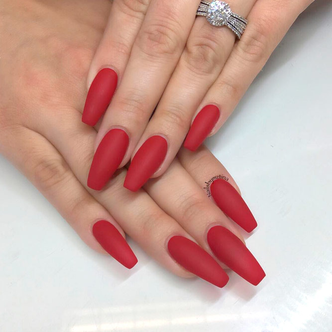 Red Matte Nails Designs picture 1