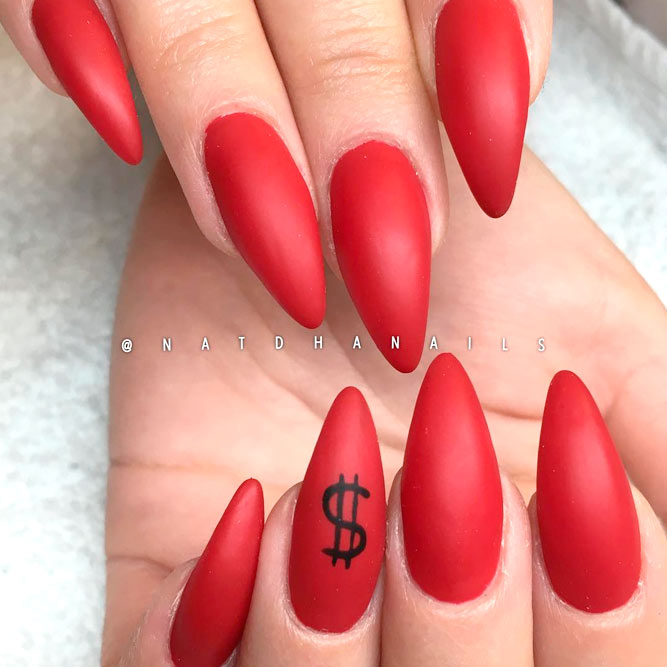 Red Matte Nails Designs picture 3