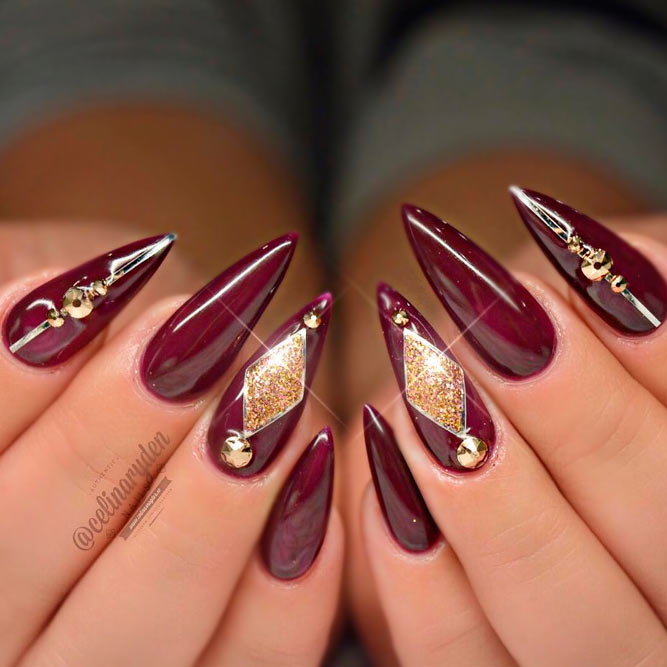Dark Red Acrylic Nails picture 1